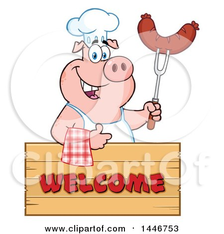 Cartoon Clipart of a Chef Pig Giving a Thumb up and Holding a Sausage over a Welcome Sign - Royalty Free Vector Illustration by Hit Toon
