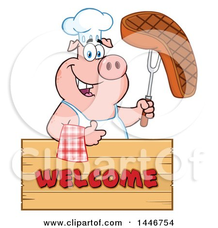 Cartoon Clipart of a Chef Pig Giving a Thumb up and Holding a Steak over a Welcome Sign - Royalty Free Vector Illustration by Hit Toon