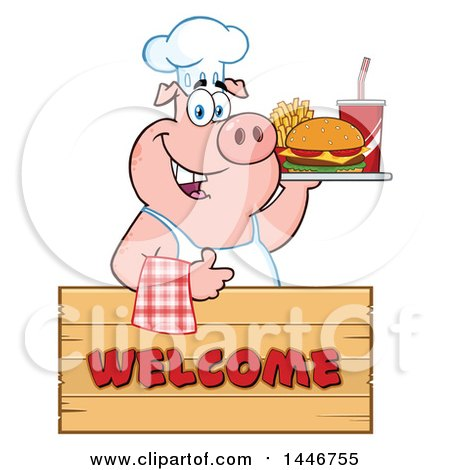 Cartoon Clipart of a Chef Pig Giving a Thumb up and Holding a Cheeseburger, Fries and Soda on a Tray over a Welcome Sign - Royalty Free Vector Illustration by Hit Toon