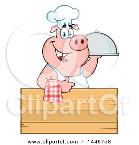 Cartoon Clipart of a Chef Pig Giving a Thumb up and Holding a Cloche Platter over a Blank Wood Sign - Royalty Free Vector Illustration by Hit Toon