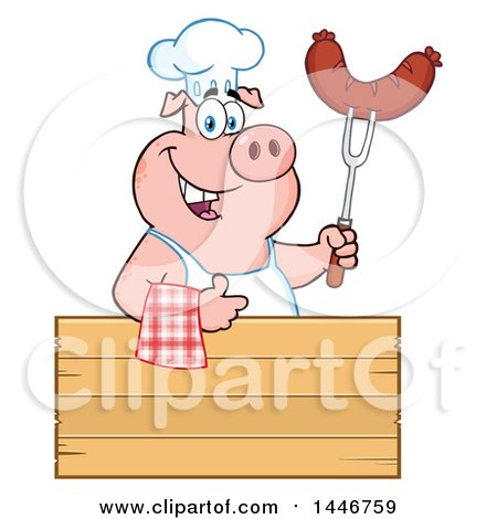 Cartoon Clipart of a Chef Pig Giving a Thumb up and Holding a Sausage over a Blank Sign - Royalty Free Vector Illustration by Hit Toon