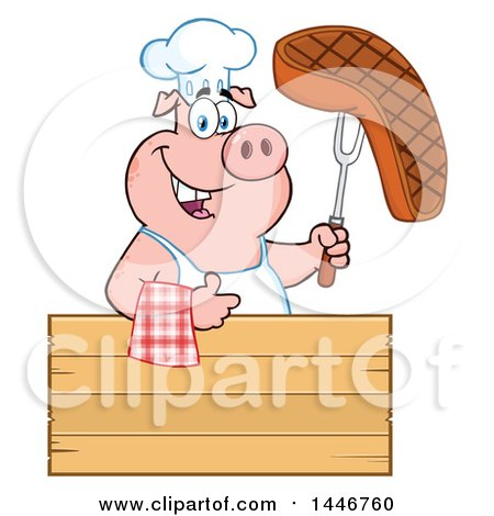 Cartoon Clipart of a Chef Pig Giving a Thumb up and Holding a Steak over a Blank Wood Sign - Royalty Free Vector Illustration by Hit Toon