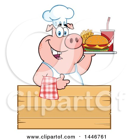 Cartoon Clipart of a Chef Pig Giving a Thumb up and Holding a Cheeseburger, Fries and Soda on a Tray over a Wood Sign - Royalty Free Vector Illustration by Hit Toon