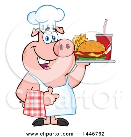 Cartoon Clipart of a Chef Pig Giving a Thumb up and Holding a Cheeseburger, Fries and Soda on a Tray - Royalty Free Vector Illustration by Hit Toon