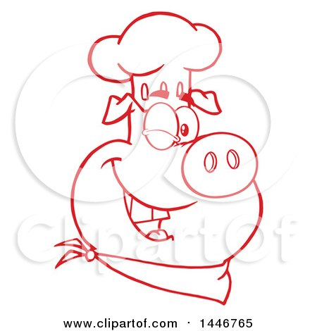 Cartoon Clipart of a Red and White Lineart Winking Chef Pig Wearing a Bandana and Toque Hat - Royalty Free Vector Illustration by Hit Toon