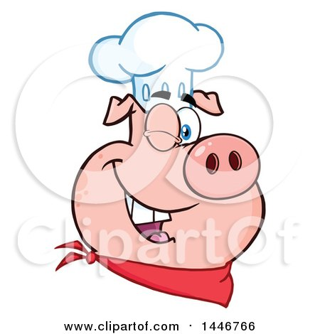 Cartoon Clipart of a Winking Chef Pig Wearing a Bandana and Toque Hat - Royalty Free Vector Illustration by Hit Toon