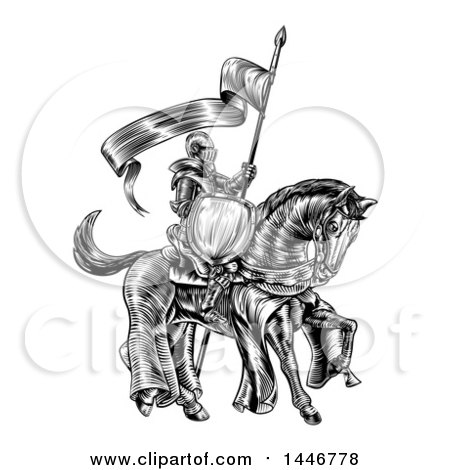 Clipart of a Black and White Etched Engraved or Woodcut Fully Armored Medieval Knight on a Horse, Holding a Spear Flag - Royalty Free Vector Illustration by AtStockIllustration