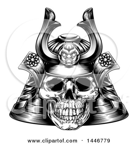 Clipart of a Black and White Engraved Skull Asian Samurai Mask - Royalty Free Vector Illustration by AtStockIllustration