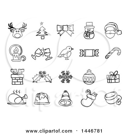 Clipart of Black and White Watercolor Styled Christmas Icons - Royalty Free Vector Illustration by AtStockIllustration