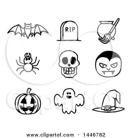 Clipart of Black and White Watercolor Styled Halloween Icons - Royalty Free Vector Illustration by AtStockIllustration