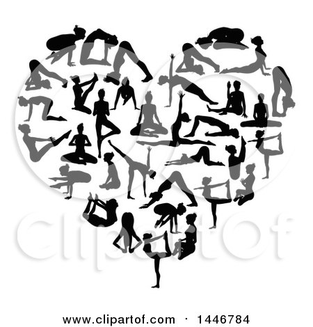 Clipart of Black Silhouetted Women Doing Yoga and Forming a Heart - Royalty Free Vector Illustration by AtStockIllustration
