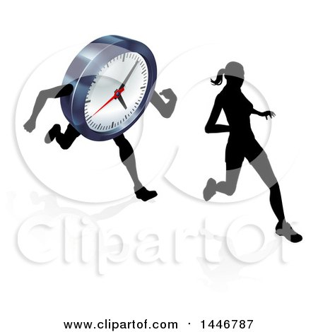 Clipart of a Silhouetted Woman Running Ahead of a Clock Character - Royalty Free Vector Illustration by AtStockIllustration