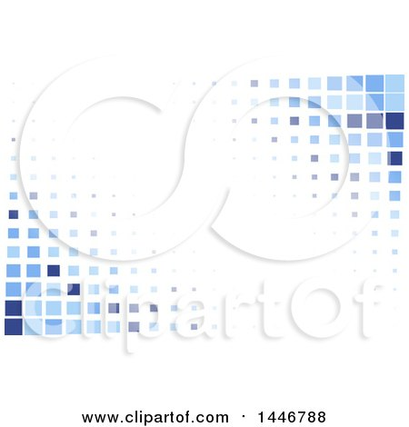 Clipart of a Background of Blue Tiles or Pixels on White - Royalty Free Vector Illustration by KJ Pargeter
