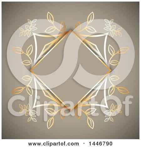 Clipart of a Fancy Golden Floral Frame over Tan - Royalty Free Vector Illustration by KJ Pargeter