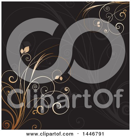 Clipart of a Black Background with Gran and Gold Vines - Royalty Free Vector Illustration by KJ Pargeter