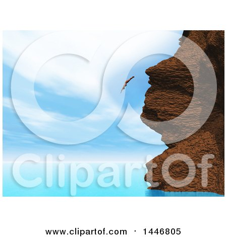 Clipart of a 3d Woman Diving off of a Coast Cliff into the Ocean - Royalty Free Illustration by KJ Pargeter