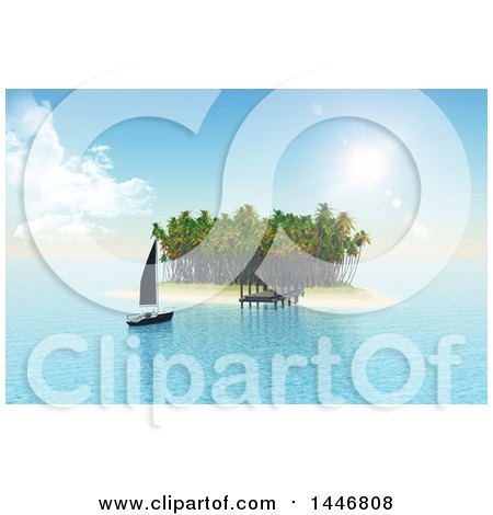 Clipart of a 3d Yacht Sailing to a Jetty on a Tropical Island - Royalty Free Illustration by KJ Pargeter