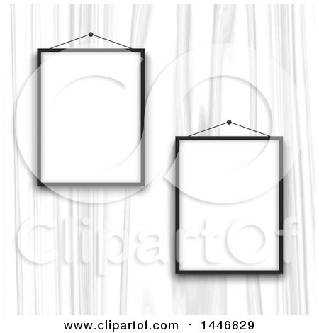 Clipart of a White Wood Wall with Blank Picture Frames - Royalty Free Vector Illustration by KJ Pargeter