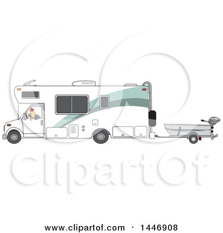 Clipart of a Cartoon White Man Backing up a Class C Motorhome and Towing a Boat - Royalty Free Vector Illustration by djart