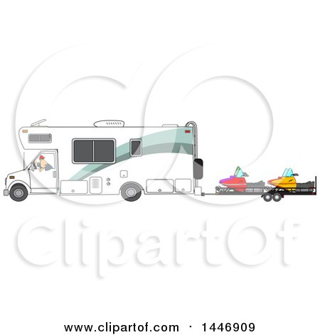 Clipart of a Cartoon White Man Backing up a Class C Motorhome and Towing Snowmobiles - Royalty Free Vector Illustration by djart