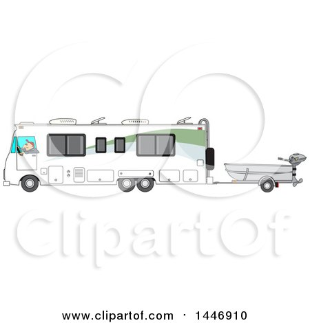 Clipart of a Cartoon White Man Driving a Motorhome and Towing a Fishing Boat - Royalty Free Vector Illustration by djart