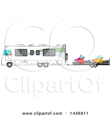 Clipart of a Cartoon White Man Driving a Motorhome and Towing Snowmobiles| Royalty Free Vector Illustration by djart