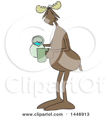 Clipart of a Cartoon Moose Pouring a Drink from a Pitcher - Royalty Free Vector Illustration by djart