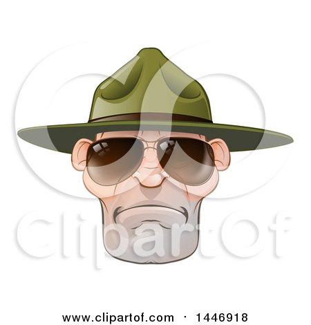 Clipart of a Mad Caucasian Male Army Boot Camp Drill Sergeant Face with Sunglasses - Royalty Free Vector Illustration by AtStockIllustration