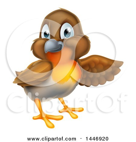 Clipart of a Robin Bird Presenting to the Right - Royalty Free Vector Illustration by AtStockIllustration