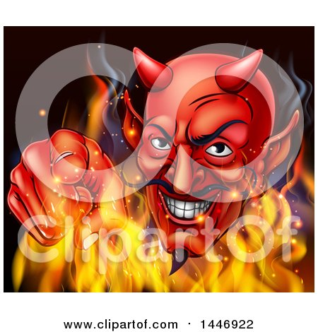 Clipart of a Grinning Red Devil Emerging from Flames and Pointing Outwards - Royalty Free Vector Illustration by AtStockIllustration