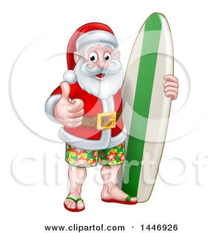 Clipart of a Thumb up Summer Santa Claus with Shorts Sandals and a Surf Board - Royalty Free Vector Illustration by AtStockIllustration