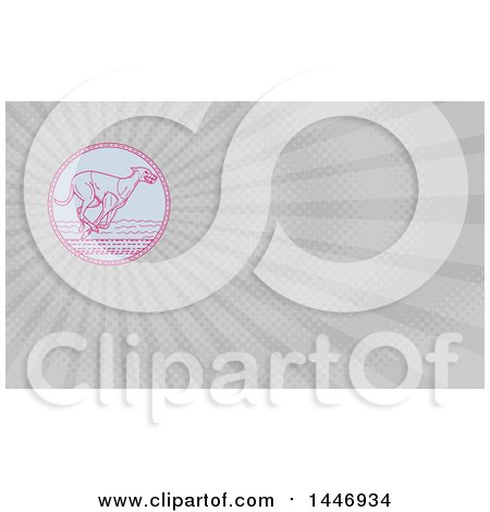Clipart of a Mono Line Styled Racing Greyhound Dog and Gray Rays Background or Business Card Design - Royalty Free Illustration by patrimonio