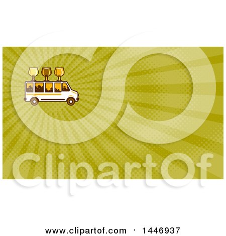 Clipart of a Retro Brew Tour Bus with Glasses on the Roof and a City Skyline in the Windows and Green Rays Background or Business Card Design - Royalty Free Illustration by patrimonio