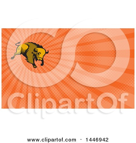 Clipart of a Retro Charging American Bison Buffalo and Orange Rays Background or Business Card Design - Royalty Free Illustration by patrimonio