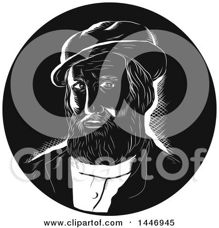 Clipart of a Retro Engraved or Woodcut Styled Bust of Hernan Cortes De Monroy Y Pizarro Altamirano in Black and White - Royalty Free Vector Illustration by patrimonio