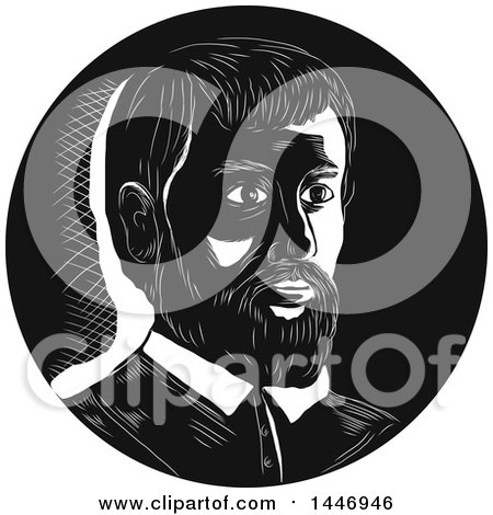 Clipart of a Retro Engraved or Woodcut Styled Bust Portrait of Hernando De Soto, Spanish Explorer, in Black and White - Royalty Free Vector Illustration by patrimonio