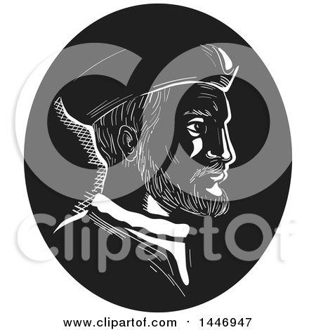 Clipart of a Retro Engraved or Woodcut Styled Bust Portrait of Jacques Cartier, French Explorer, in Black and White - Royalty Free Vector Illustration by patrimonio