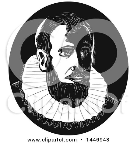 Clipart of a Retro Engraved or Woodcut Styled Bust of Henry Hudson in Black and White - Royalty Free Vector Illustration by patrimonio