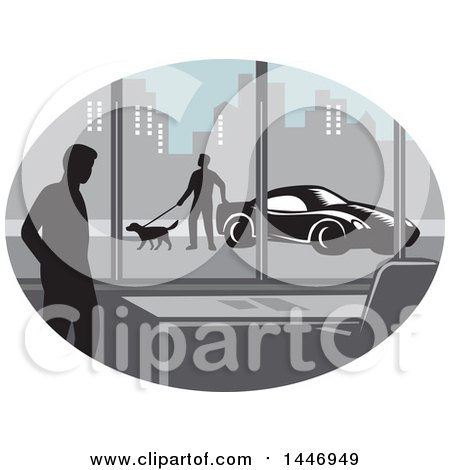 Clipart of a Retro Woodcut Styled Silhouetted Man in an Office Building and Person Walking a Dog by a Car Outside in a City - Royalty Free Vector Illustration by patrimonio