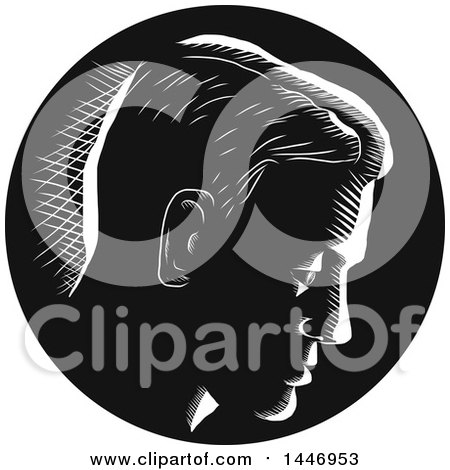 Clipart of a Retro Engraved or Woodcut Styled Pensive Man Thinking, in Profile and in Black and White - Royalty Free Vector Illustration by patrimonio