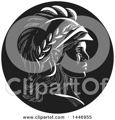 Clipart of a Retro Engraved or Woodcut Styled Profile Bust of Minerva or Menrva, the Roman Goddess of Wisdom, in Black and White - Royalty Free Vector Illustration by patrimonio