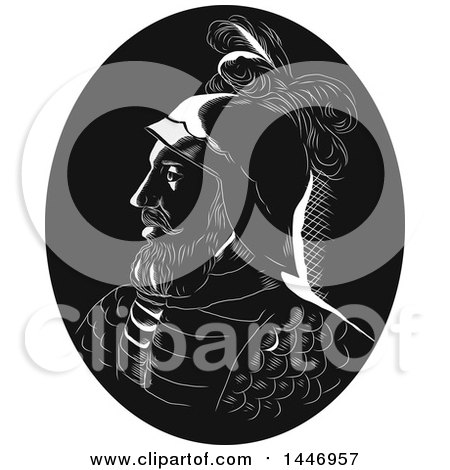 Clipart of a Retro Engraved or Woodcut Styled Profile Bust Portrait of Vasco Nunez De Balboa, Spanish Explorer, in a Black and White - Royalty Free Vector Illustration by patrimonio