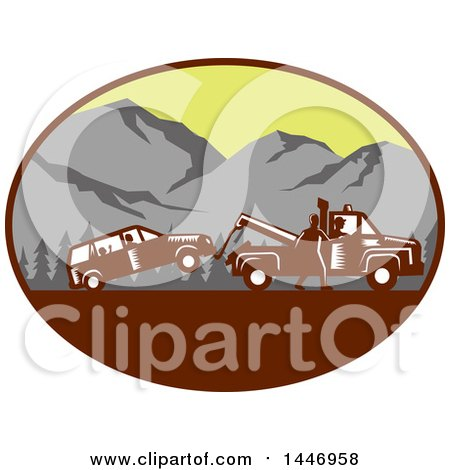 Clipart of a Retro Woodcut Styled Man Towing Away a Family Car in an Oval with Mountains - Royalty Free Vector Illustration by patrimonio
