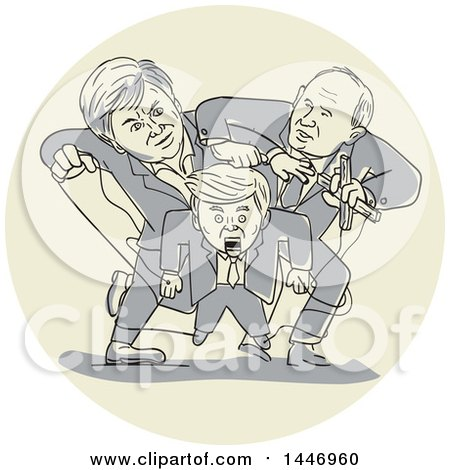 Clipart of a Sketched Political Cartoon of Two Puppeteers Fighting and Wrestling Control over One Puppet - Royalty Free Vector Illustration by patrimonio
