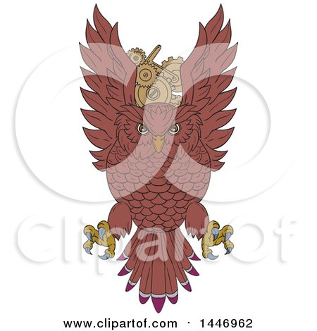 Clipart of a Sketched Drawing Styled Swooping Owl over Gear Cog Wheels - Royalty Free Vector Illustration by patrimonio