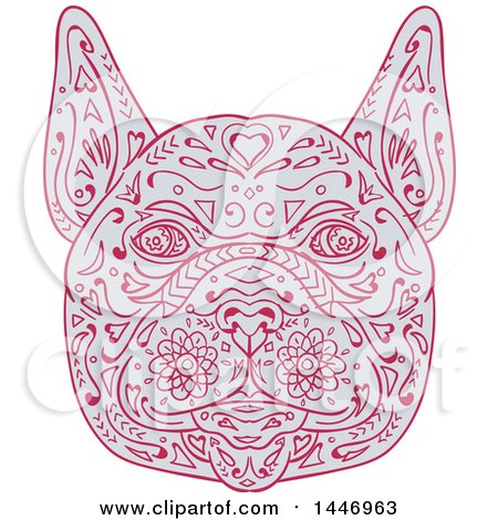 Clipart of a Sketched Mandala Styled French Bulldog Face - Royalty Free Vector Illustration by patrimonio