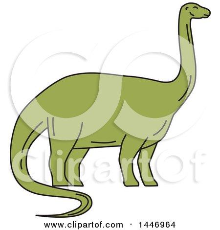 Clipart of a Sketched Mono Line Styled Brontosaurus Dinosaur - Royalty Free Vector Illustration by patrimonio