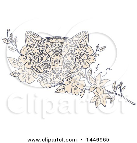Clipart of a Sketched Mandala Styled Cat Face and Jasmine Flowers - Royalty Free Vector Illustration by patrimonio