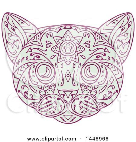 Clipart of a Sketched Mandala Styled Cat Face - Royalty Free Vector Illustration by patrimonio