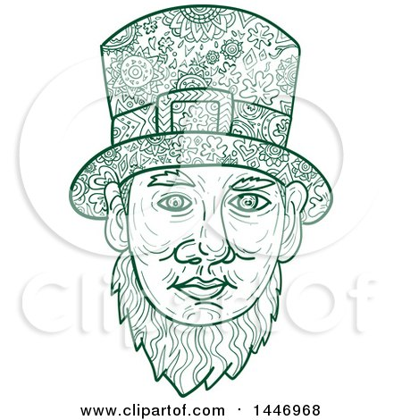 Clipart of a Sketched Mandala Styled Leprechaun Face - Royalty Free Vector Illustration by patrimonio